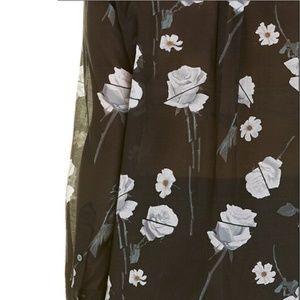 Equipment Tops - Equipment Women's Black Daddy Floral Top long